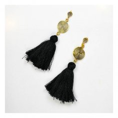 A-FX-E6052bla Black Tassel Twirly Gold Plate Classic Earrings