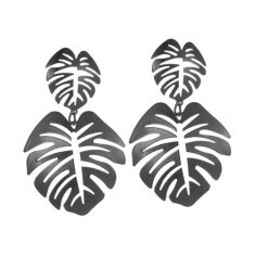 A-JW-11300 Simple Dangling Black Leaves Trendy Fashion Earstuds