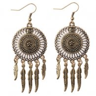 A-DW-HQE476 Vintage Bronze Dream Catcher Inspired Hook Earrings