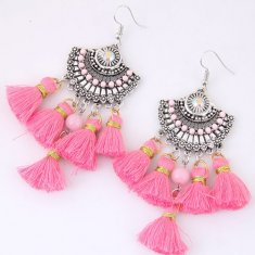 C10124181 Pink Dangling Tassel Bohemian Arabian Earrings Malaysi