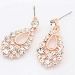 P119680 Shiny crystals oval dangling korean earstuds malaysia