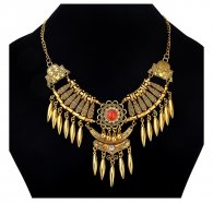 A-CJ-9366 Red Bead Vintage Wing Dinner Statement Necklace Shop