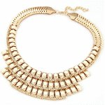 C11010469 White beads gold statement necklace korea shop