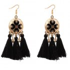 P128797 Black Tassel Flowery Elegance Wholesale Earrings