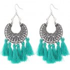C015080145 Green Tassel Elegant Antique Silver Earrings Wholesal