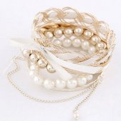 C11040286 Gold Pearl Dangling Charms Bangle Set Malaysia Shop