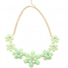 P109000 Green spring flower gold statement necklace malaysia