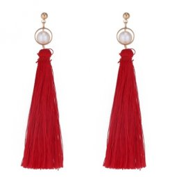 P133688 Red Dangling Tassel White Beads Earstuds Wholesale
