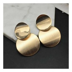 A-FX-E6047 Curved Circle Golden Plates Double Sized Earstuds