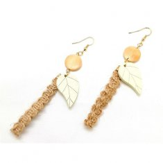 A-LG-17 -Brown Classic Simple Rope Leaf Shape Hoop Earring