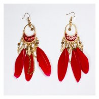 A-UN-FP003 Red Feather Tassel Golden Chains Hook Earrings Shop