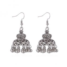 P1344333 Silver Dome Carved Classic Curves Antique Earrings