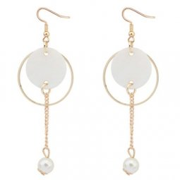 C0150805156 White brown shell round hook earrings wholesale shop
