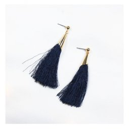 A-UN-navy Long Navy Blue Classic Tassel & Golden Holder Earstuds
