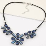 C110509135 BLue flower crystals shiny korean choker necklace