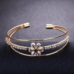 A-KJ-B020039 Gold With Stone Diamonds Flower Bangle 5cm Diameter