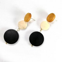 A-TT-1 white black wood circle earstud earring malaysia