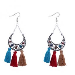 P127536 Colourful Moon Geometry Tassel Hook Earrings Malaysia