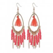 A-QD-8025o Orange Beads Oval Dangling Tassel Hook Earrings