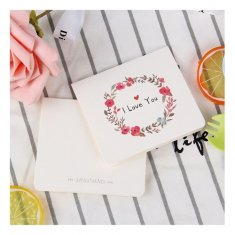 A-LH-ILOVEU I Love You With Cute Flowers Wreath Gift Cards