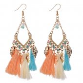 A-QD-8032c Colourful Leaves Dangling Wholesale Tassel Earrings