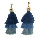 A-KJ-E020381BLUE Blue 3 Layer Tassel Korean Inspired Earstuds