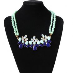 A-HY-ON309 Blue Spring Crystals Bead Choker Necklace Malaysia