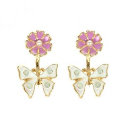 A-LG-ER0574(PINK) Pink Flower White Butterfly Korean Earstuds
