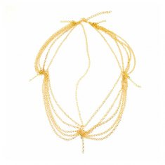 A-H2ER120616 Gold Chain Dangling Single Crystal Studded Headchai