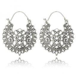 A-YG-5674silver Silver Vintage Heart Shape Patterns Hook Earring
