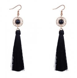 P127522 Gold Round Bead Dangling Tassel Hook Earrings Malaysia