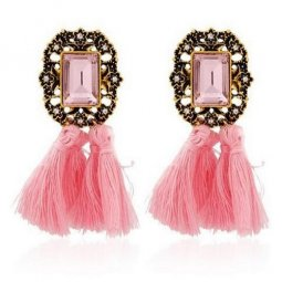 A-SD-XL0790pink Pink Tassel Rectangle Crystal Earstuds