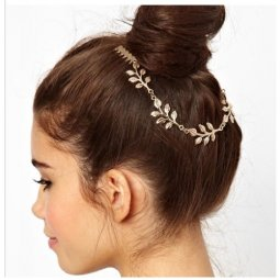 A-H2-ER120616 Gold Simple One Layer Leave Headchain Malaysia