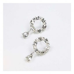 A-QK-0663silver Crystal Studded Circle Hollow Earstuds Korean
