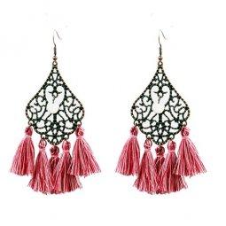 A-HH-HQEF-913red Red Tassels Vintage Style Hook Earrings