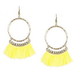 A-KJ-E020338y Yellow Round Elegant Tassel Hook Earrings