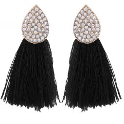 C110507112 Black Tassel Shiny Oval Korean Inspired Earstuds