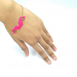 A-UK-6 PINK MUSTACHES CHAIN CHARM BRACELETS