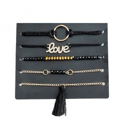 A-YG-sku4193 Black Gold Beads Love Tassels Layers Bracelets