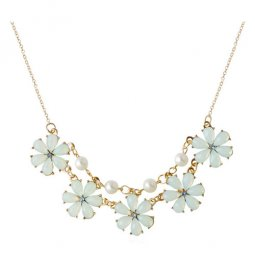 A-HY-N168 White Flowers Blue Crystals With Pearl Beads Necklaces