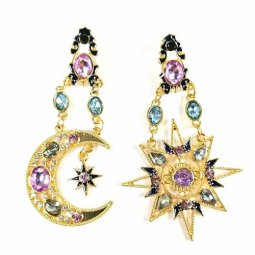 A-SQ-ES0101 Gold Star And Half Moon Bohemian Antique Earstuds