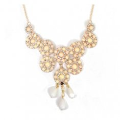 A-CJ-9545 Bloom Beige Crystal Flower Elegant Aroma Necklace