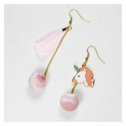 A-TT-1012 Unmatched Pink Unicorn Fluff Ball Korean Style Earring
