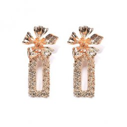 A-QF-30N0802 Gold Square Petals Flower Ore Earrings Korean