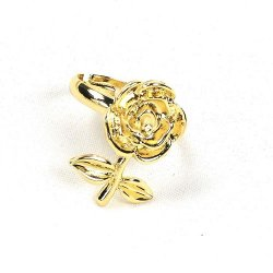 B-ASE-6434- Gold Simple Classic Big Rose Ring