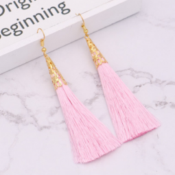A-QM-332Pink Pink Elegant Gold Tassel Earrings Wholesale Shop