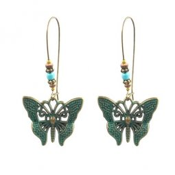 A-HH-HQEF-035butterfly Green Butterfly Blue Vintage Beads Hook