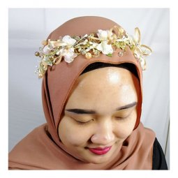 A-CT-FLow2 Elegant Floral Wedding Hairband With Orangie Beads
