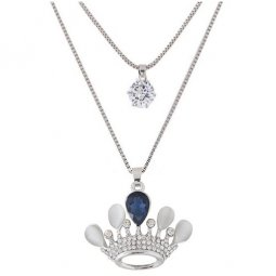 C090621134 Crystals Blue Crown 2 Layers Long Necklace