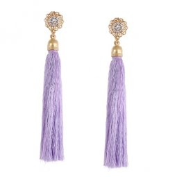 A-QD-E0624 Purple Flowery Shiny Crystal Korean Inspired Earstuds